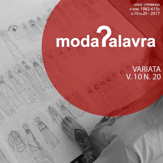 Capa da edição volume 10 número 20 do Moda Palavra e periódico, vê-se foto de aluna do curso de moda do CEART com seus desenhos da coleção do projeto final do curso.